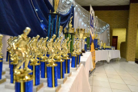 Trophies at the Lenasia Soccer League Gala Dinner